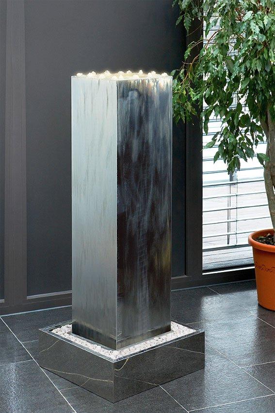 Brunnen Edelstahl.Edelstahl Stelenbrunnen Kubus 124 Cm
