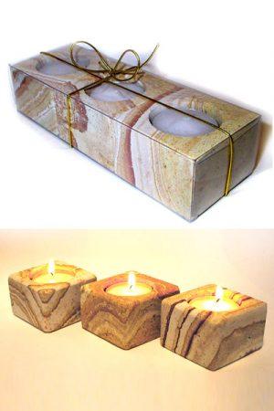 Sandstein-Teelichthalter 3er-Set