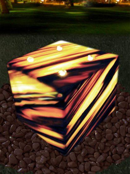 Sölkermarmor-Licht-Gartenbrunnen Cube
