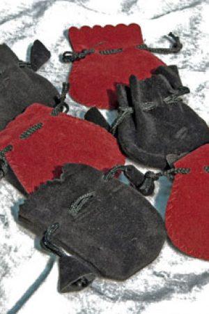 Veloursamtsäckchen rot-schwarz