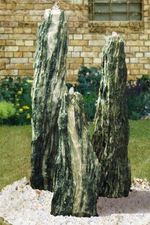 Naturstein-Gartenbrunnen TRIO Serpentin 120 cm