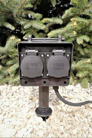 Gartensteckdose 4-fach mit Erdspieß und 3m-Kabel
