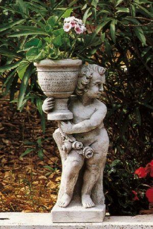 """Gartenfigur Engel mit Gefäß """"Putto con vaso dx"""""""
