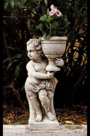 """Gartenfigur Kind mit Gefäß """"Putto con vaso sx"""""""