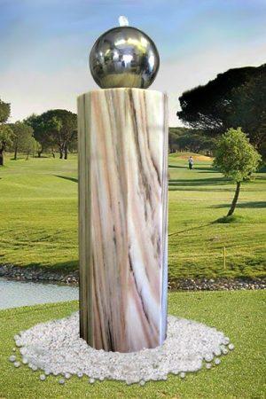 Lichtbrunnen Oktogonia mit Edelstahlkugel